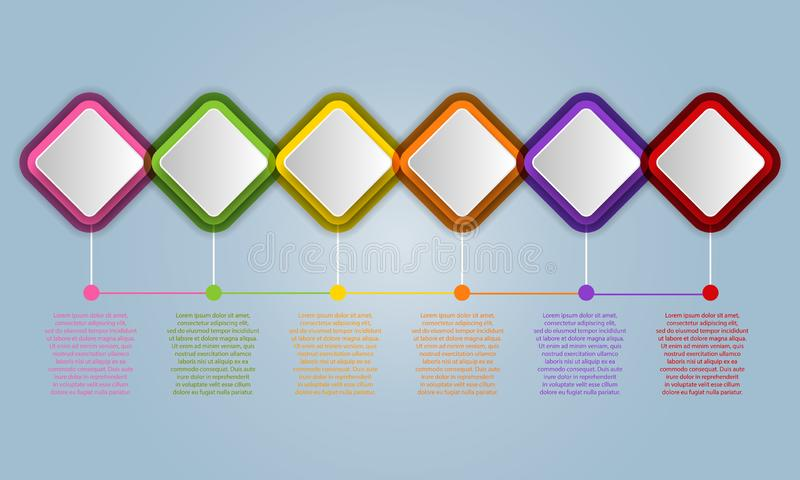 Infographic design elements for your business with 6 options, pa vector illustration