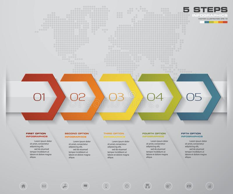 Infographic design elements for your business with 5 options. 5 steps timeline presentation. EPS 10 royalty free illustration