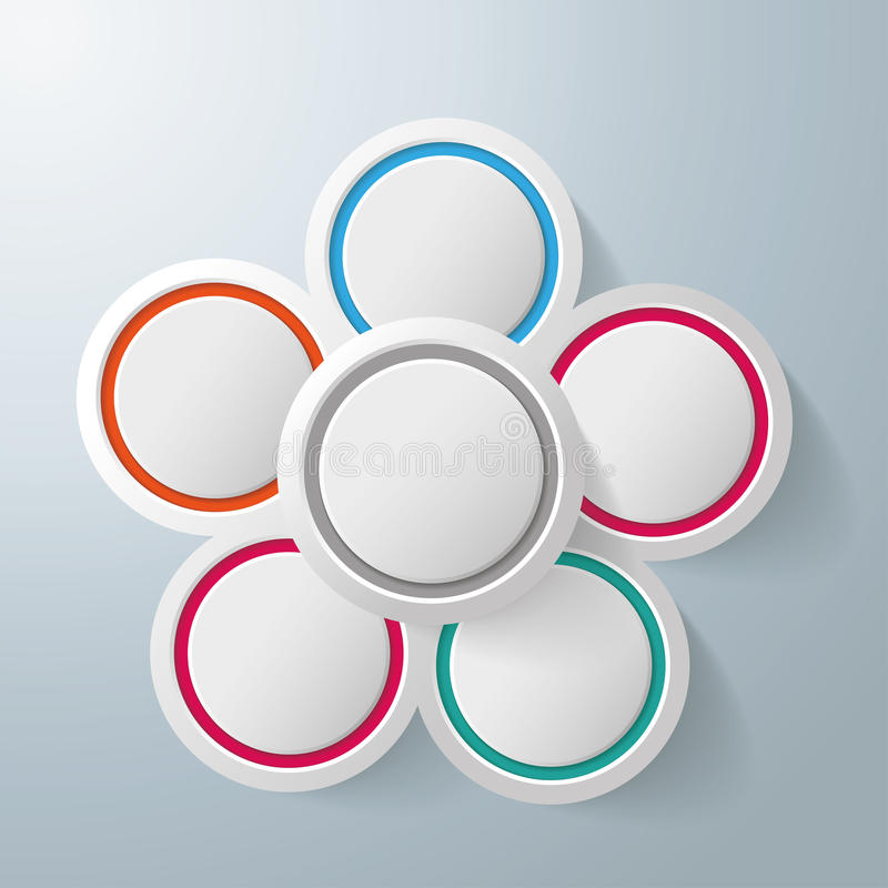 Infographic Design Flower 5 Options royalty free illustration