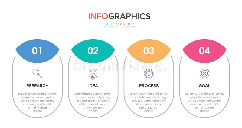 Infographic design with icons and 4 options or steps. Thin line vector. Infographics business concept. Can be used for. Info graphics, flow charts royalty free illustration