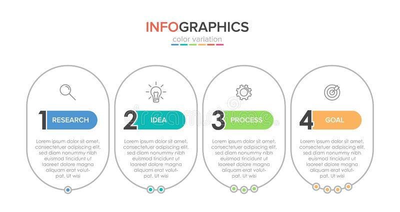 Infographic design with icons and 4 options or steps. Thin line vector. Infographics business concept. Can be used for. Info graphics, flow charts vector illustration