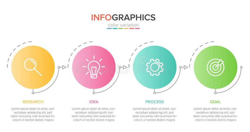 Infographic design with icons and 4 options or steps. Thin line vector. Infographics business concept. Can be used for. Info graphics, flow charts stock illustration