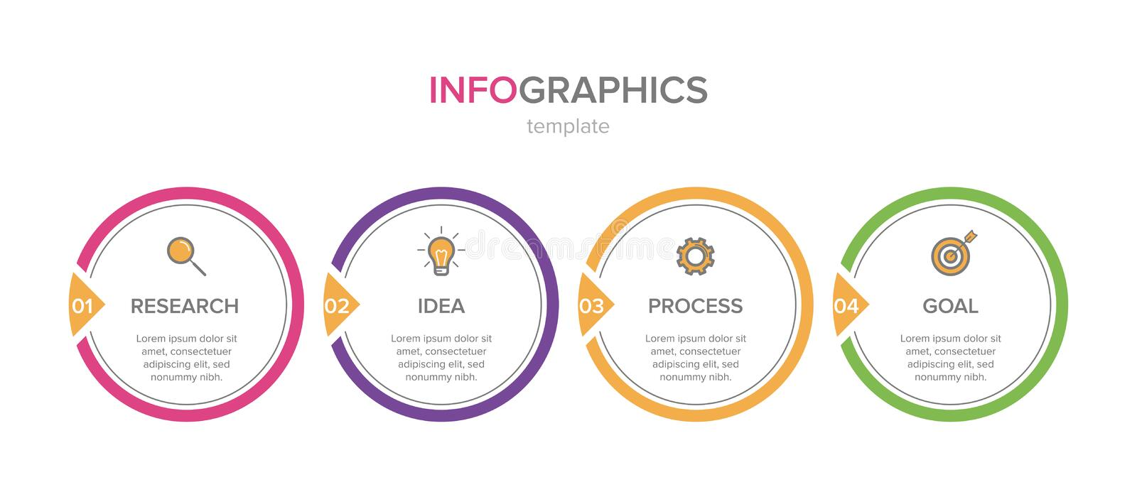 Infographic design with icons and 4 options or steps. Thin line vector. Infographics business concept. Can be used for royalty free illustration