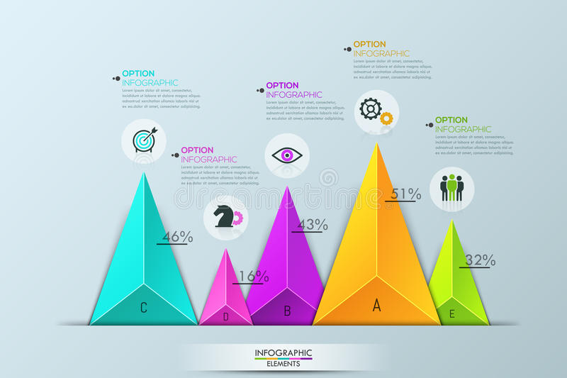 Infographic design layout, bar chart with 5 separate multicolored triangular elements. Of different sizes and text boxes. Percentage of company growth. Vector stock illustration