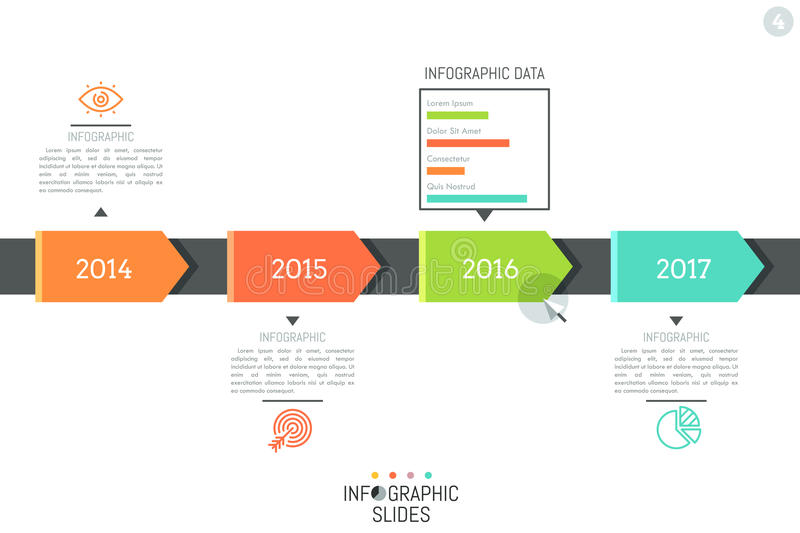 Infographic design layout. Horizontal timeline, 4 elements indicating year and connected with icons stock illustration