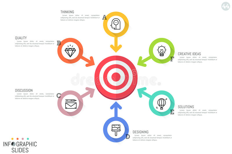 Infographic design layout. Round diagram with target central element, 6 arrows pointing at it, icons and text boxes. Six options for strategic planning concept vector illustration