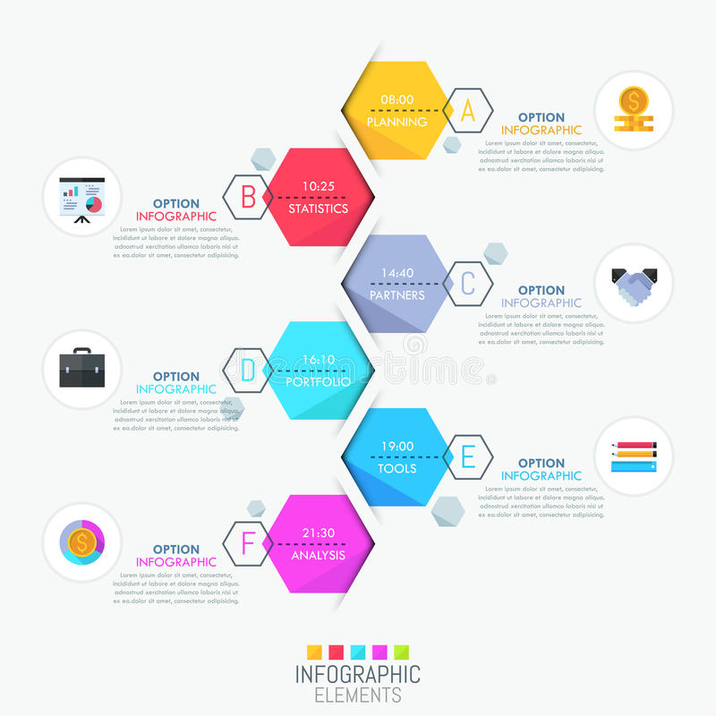 Infographic design layout, vertical timeline and 6 lettered hexagonal elements. With time indication. Productivity planner and daily schedule concept. Vector vector illustration