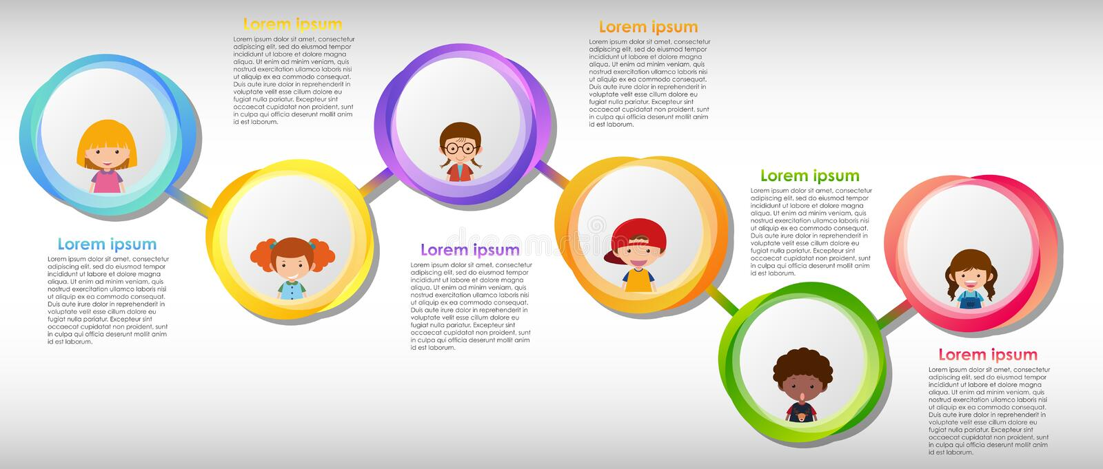 Infographic design with many children vector illustration