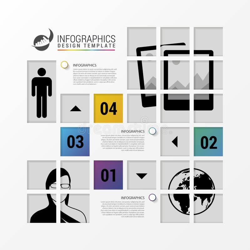 Infographic design med fyrkanter purposes kommersiella män för annonseringsaffär passande t mallkvinnor för skjorta vektor royaltyfri illustrationer