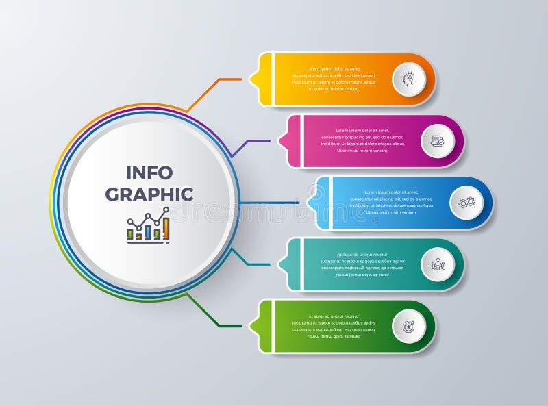 Infographic design med 5 process eller moment Infographic för diagrammet, rapport, workflow och mer Infographic med modernt och e stock illustrationer