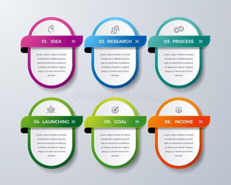 Infographic design med 6 process eller moment Infographic för diagrammet, rapport, workflow och mer Infographic med modernt och e stock illustrationer