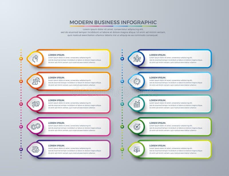 Infographic design med 10 processval eller moment Designbeståndsdelar för din affär liksom rapporter, broschyrer, broschyrer, stock illustrationer