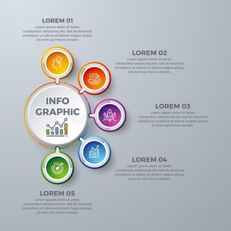 Infographic design med 5 processval eller moment Designbeståndsdelar för din affär liksom rapporter, broschyrer, broschyrer, stock illustrationer