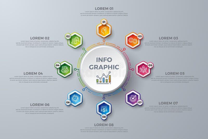 Infographic design med 8 processval eller moment Designbeståndsdelar för din affär liksom rapporter, broschyrer, broschyrer, vektor illustrationer