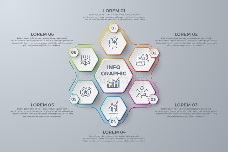 Infographic design med 6 processval eller moment Designbeståndsdelar för din affär liksom rapporter, broschyrer, broschyrer, vektor illustrationer