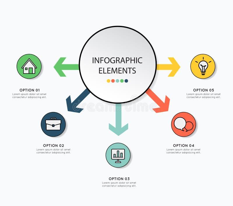 Infographic design med symbolen för affär på vit bakgrund Ve vektor illustrationer