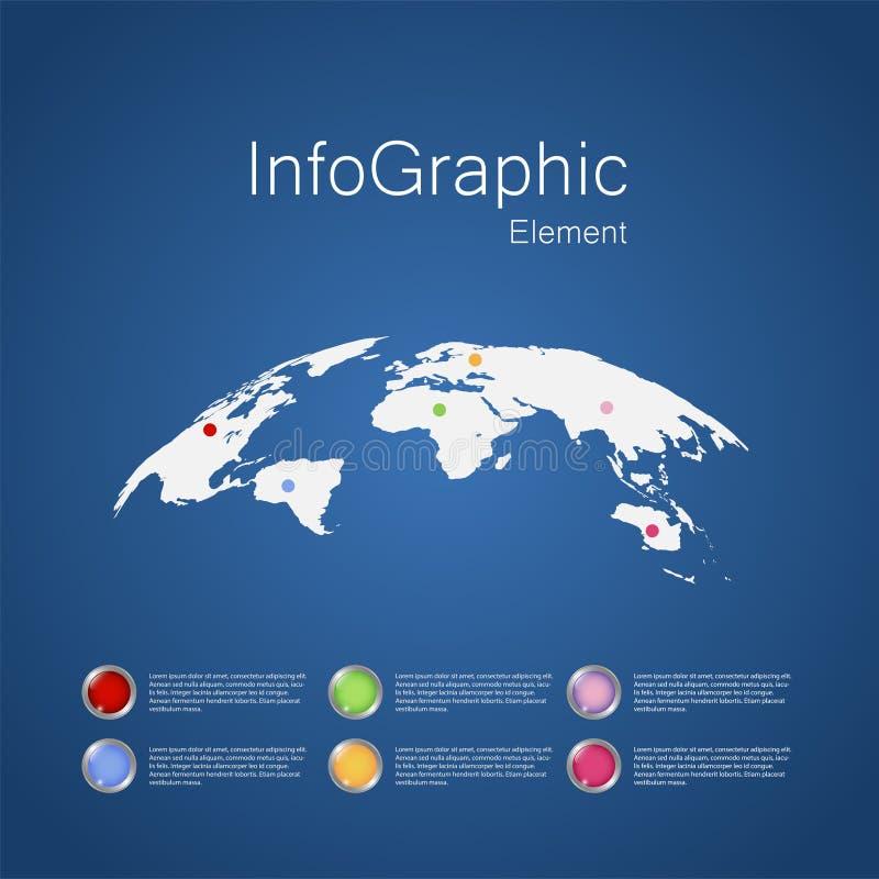Infographic design med världskartabeståndsdelen, affärsidé som används för arbetspresentation, Website, årsrapport vektor illustrationer