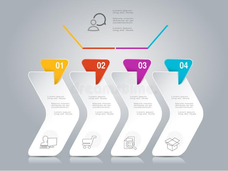 Infographic-Design mit Geschäftsikonen Arbeitsflussplan, Jahresbericht, Webdesign, Diagramm Marketing-Schablone mit 4 Wahlen, St. lizenzfreie abbildung