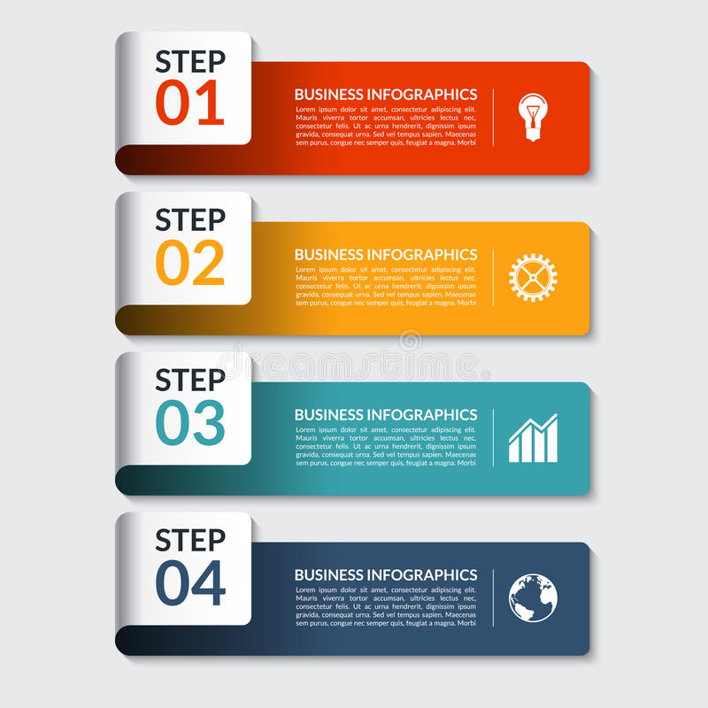 Infographic design number banners template. Can be used for business, presentation, web design vector illustration