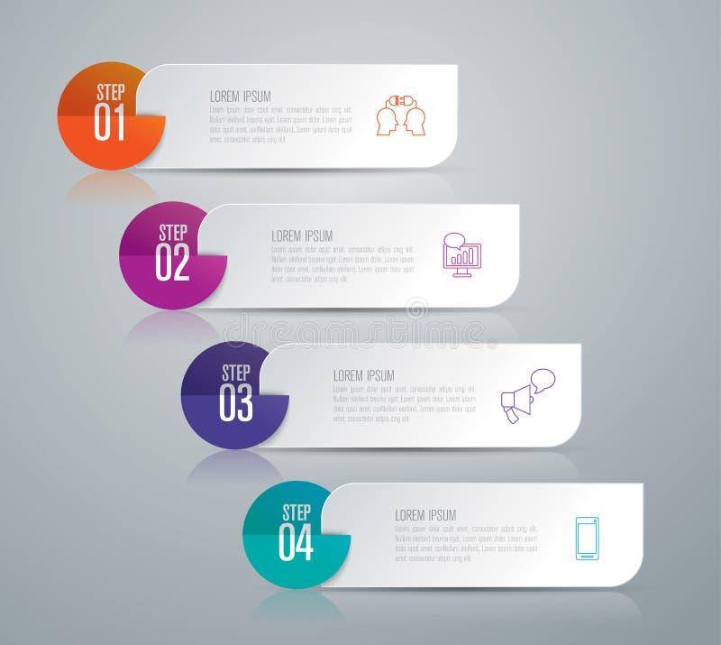 Infographic design- och affärssymboler med 4 alternativ stock illustrationer