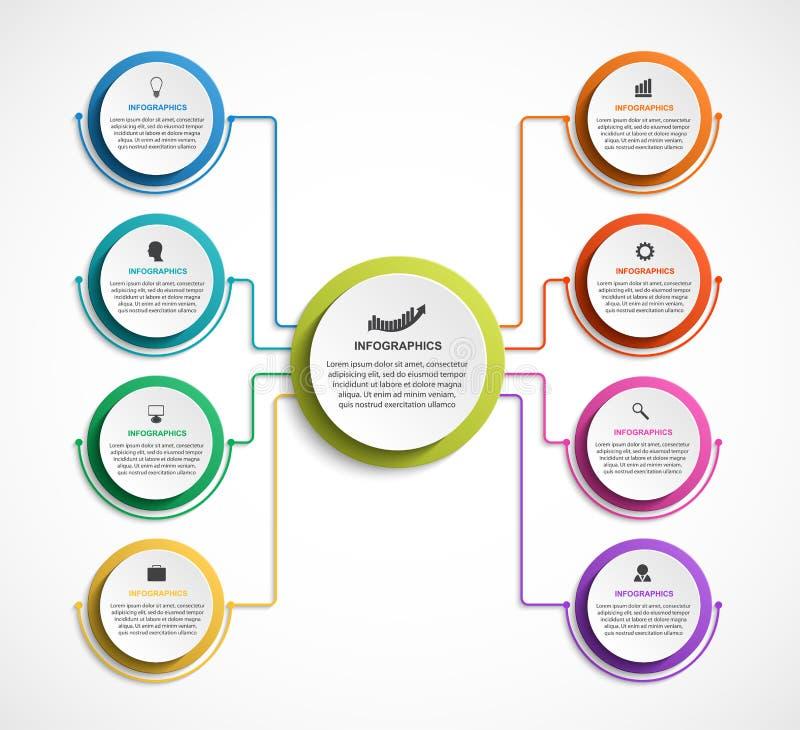 Infographic design organization chart template. Vector illustration royalty free illustration