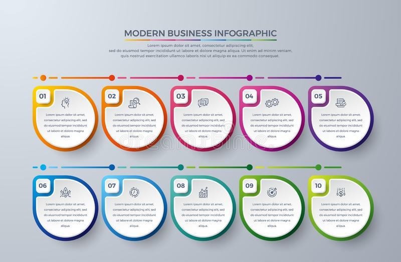 Infographic design with 10 process choices or steps. Design elements for your business such as reports, leaflets, brochures,. Workflows and more. Infographic royalty free illustration