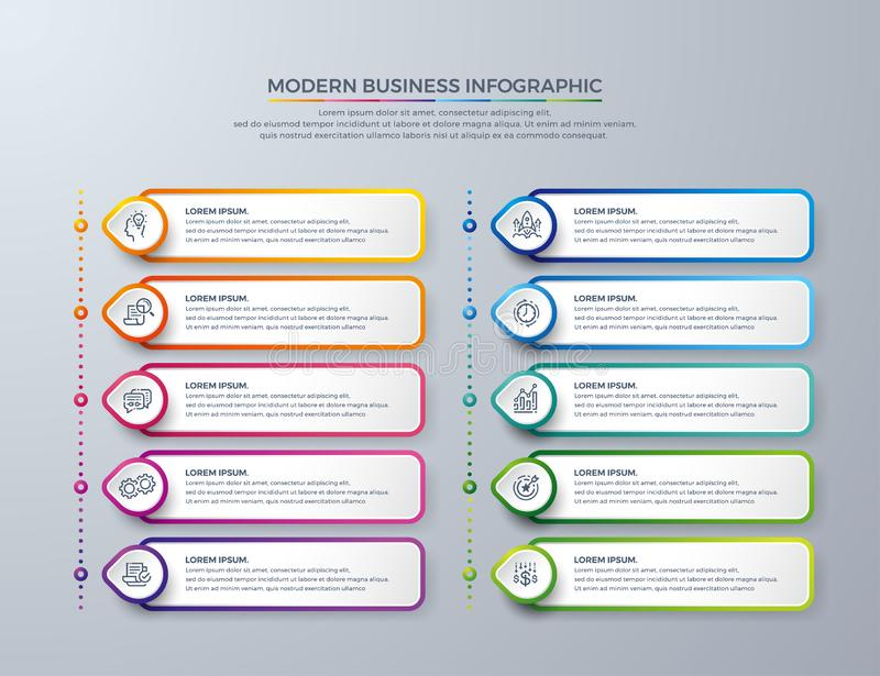 Infographic design with 10 process choices or steps. Design elements for your business such as reports, leaflets, brochures, stock illustration