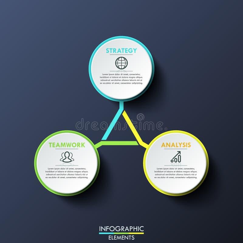 Infographic-Design-Schablonen-Kreisdiagramm Mit 3 Mehrfarbigen Mit ...