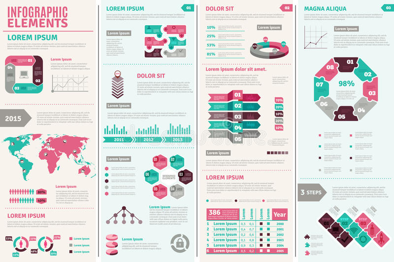 Infographic Design Set. With elements charts and graphs flat vector illustration stock illustration