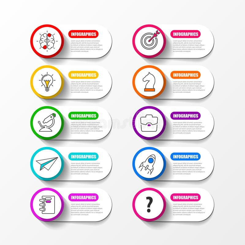 Infographic design template. Business concept with 10 steps stock illustration