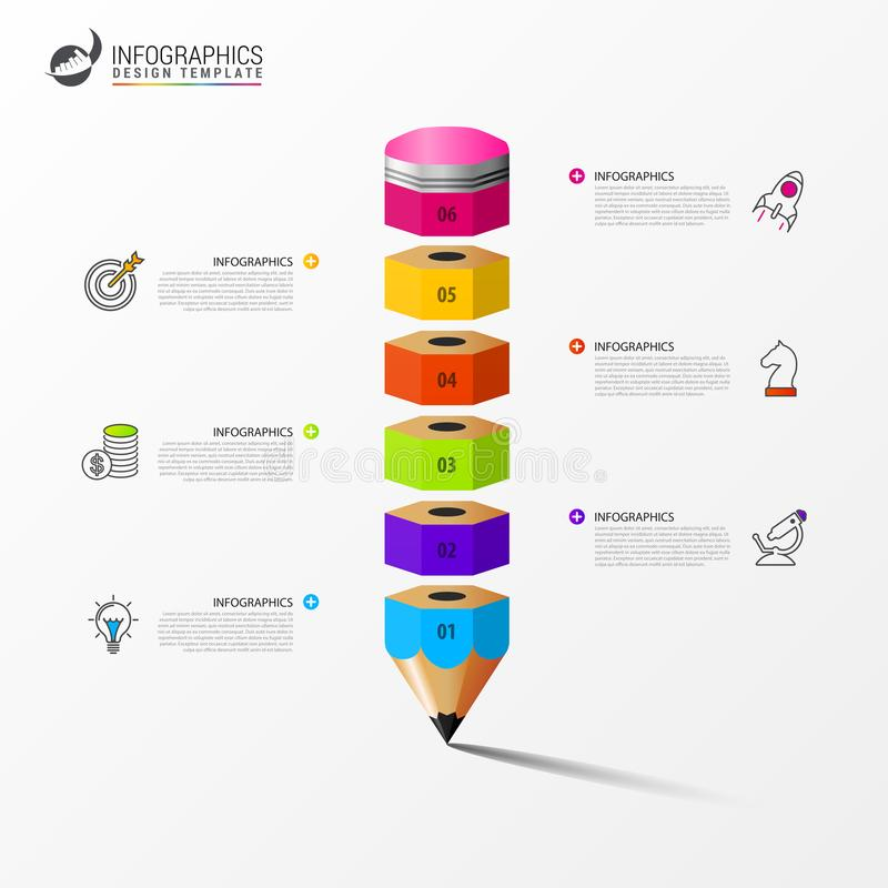 Infographic design template. Business concept with 6 steps vector illustration