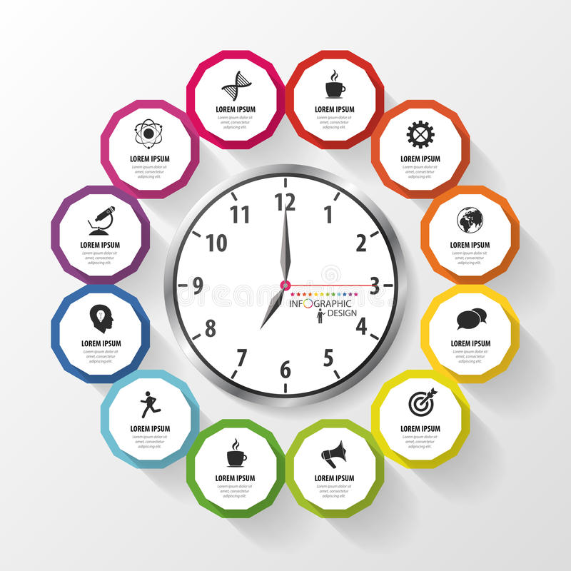 Infographic design template. Business plan. Modern clock. Vector royalty free illustration