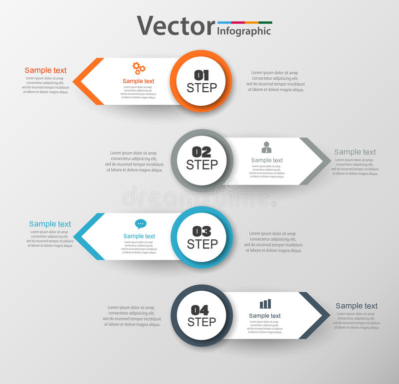 Infographic design template can be used for workflow layout, diagram, number options, web design. Infographic business concept with 4 options, parts, steps or royalty free illustration