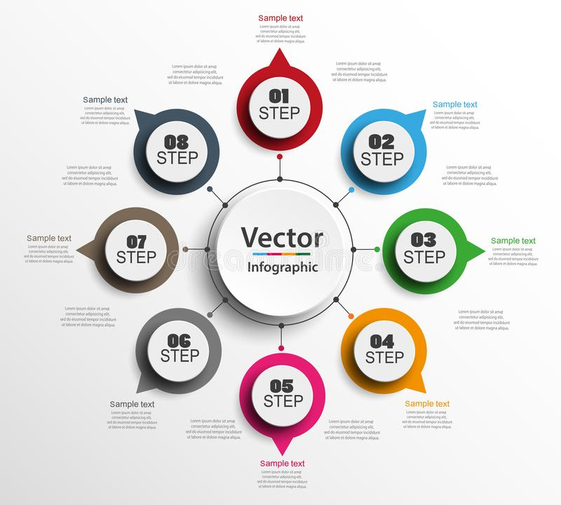 Infographic design template can be used for workflow layout, diagram, number options, web design. Infographic business concept with 8 options, parts, steps or vector illustration