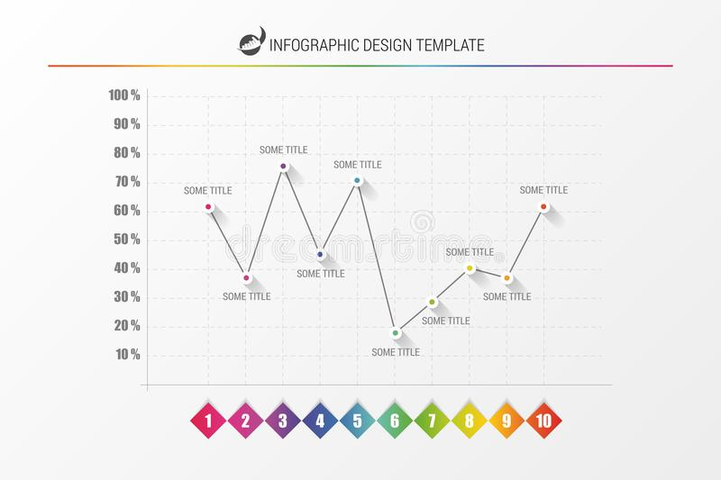 Infographic design template. Colorful line chart. Vector. Illustration stock illustration