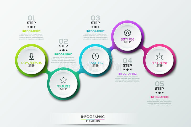 Infographic Design Template With 5 Connected Circular Elements Stock ...