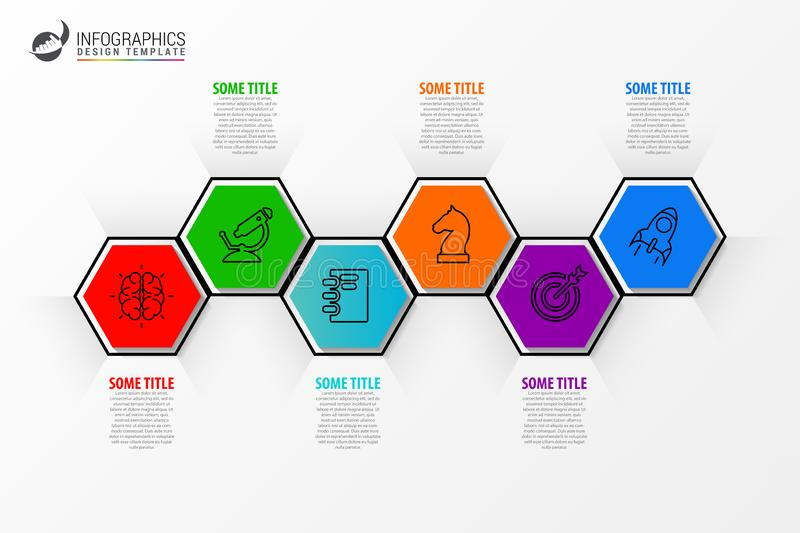 Infographic design template. Creative concept with 6 steps. Can be used for workflow layout, diagram, banner, webdesign. Vector. Illustration royalty free illustration