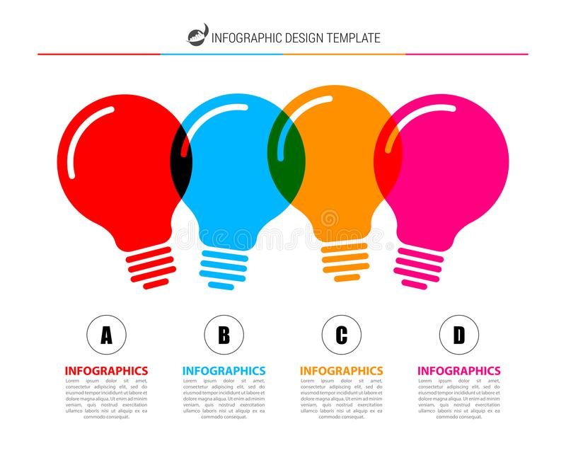 Infographic design template. Creative concept with 4 steps. Can be used for workflow layout, diagram, banner, webdesign. Vector. Illustration royalty free illustration