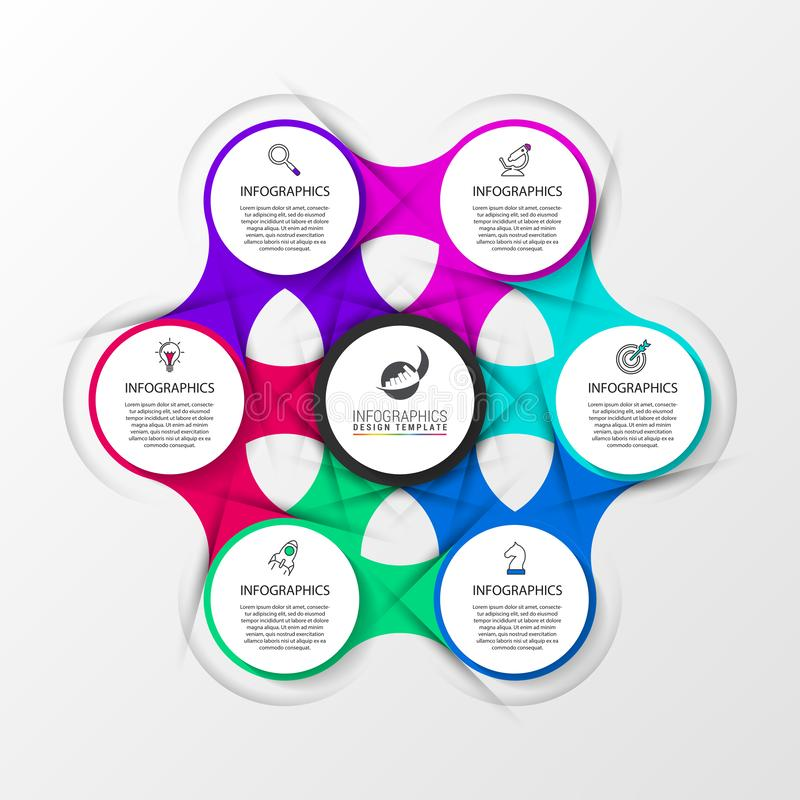 Infographic design template. Creative concept with 6 steps. Can be used for workflow layout, diagram, banner, webdesign. Vector. Illustration stock illustration