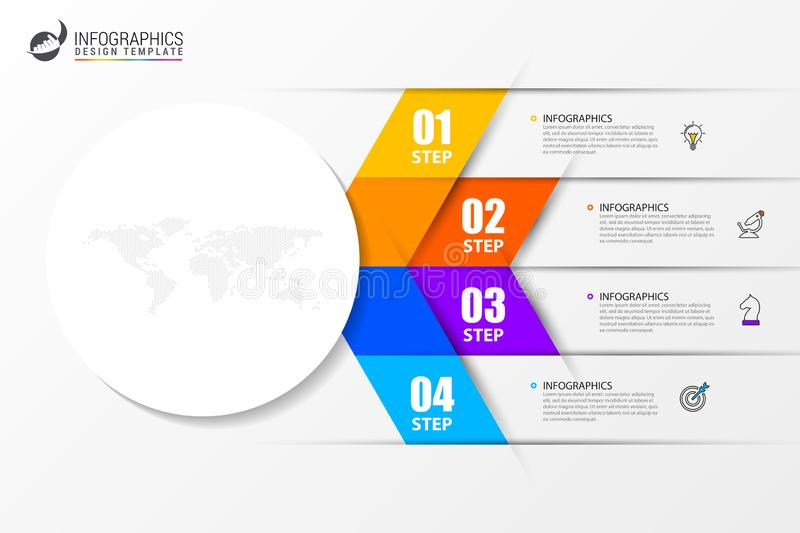 Infographic design template. Creative concept with 4 steps. Can be used for workflow layout, diagram, banner, webdesign. Vector. Illustration stock illustration