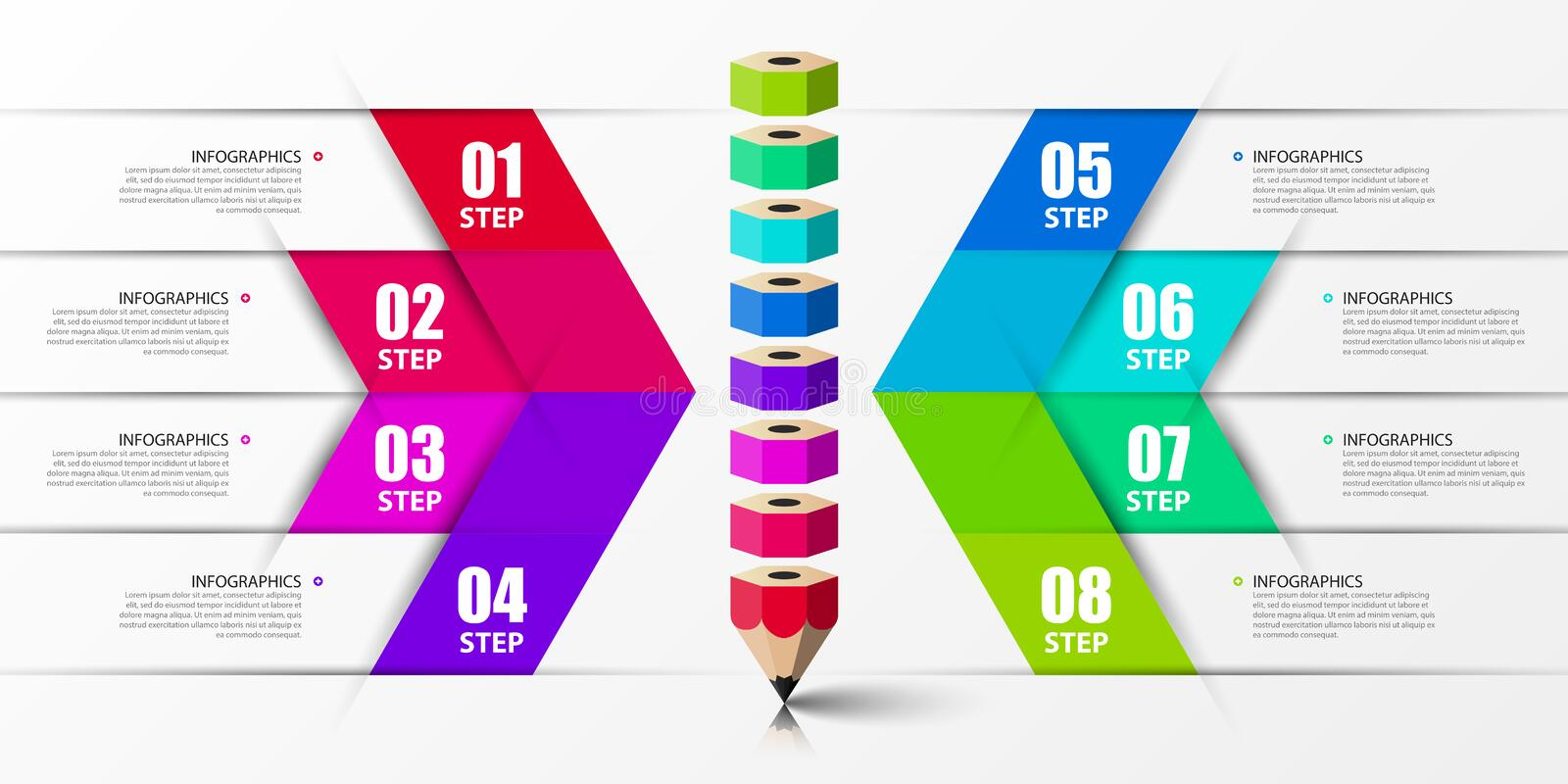Infographic design template. Creative concept with 8 steps. Can be used for workflow layout, diagram, banner, webdesign. Vector. Illustration stock illustration