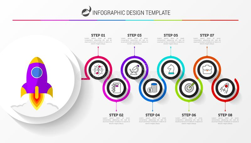 Infographic design template. Creative concept with 8 steps. Can be used for workflow layout, diagram, banner, webdesign. Vector illustration stock illustration