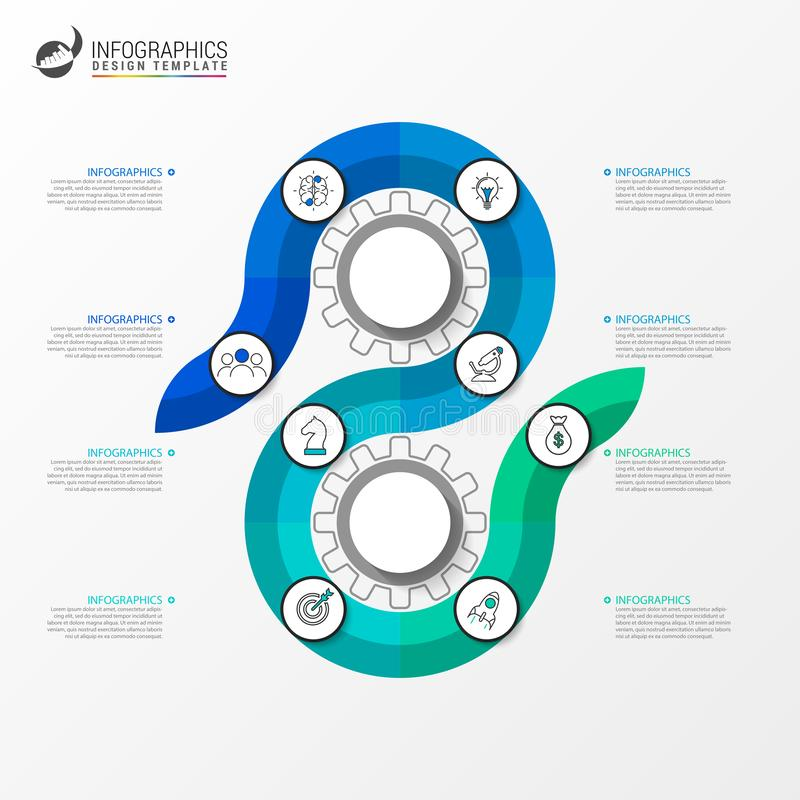 Infographic design template. Creative concept with 8 steps. Can be used for workflow layout, diagram, banner, webdesign. Vector illustration vector illustration