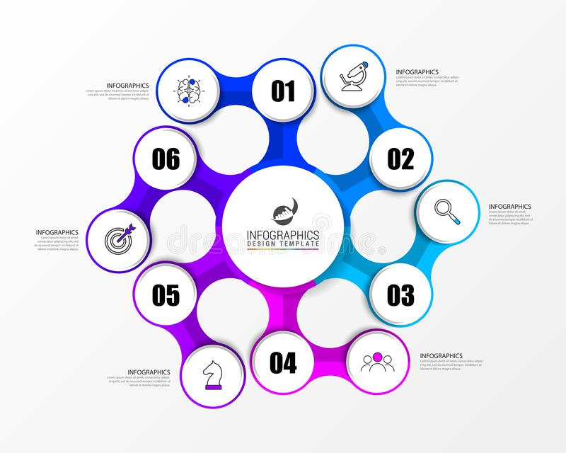 Infographic design template. Creative concept with 6 steps. Can be used for workflow layout, diagram, banner, webdesign. Vector illustration vector illustration