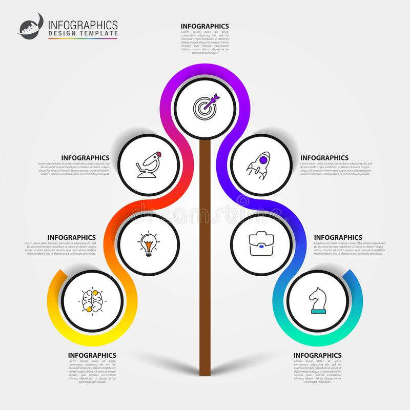 Infographic design template. Creative concept with 7 steps. Can be used for workflow layout, diagram, banner, webdesign. Vector illustration stock illustration