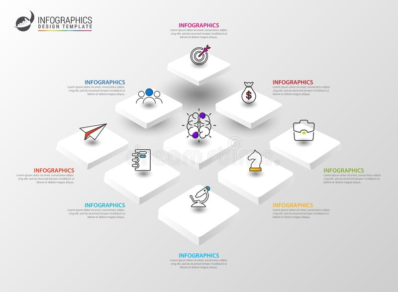 Infographic design template. Creative concept with 8 steps vector illustration