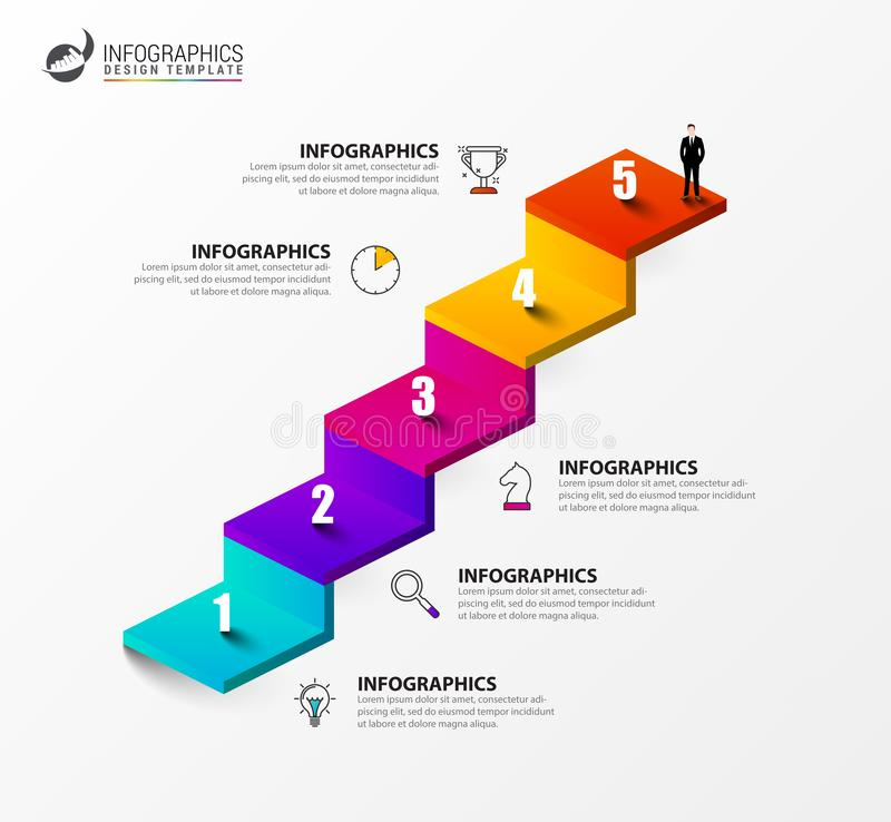 Infographic design template. Creative concept with 5 steps stock illustration