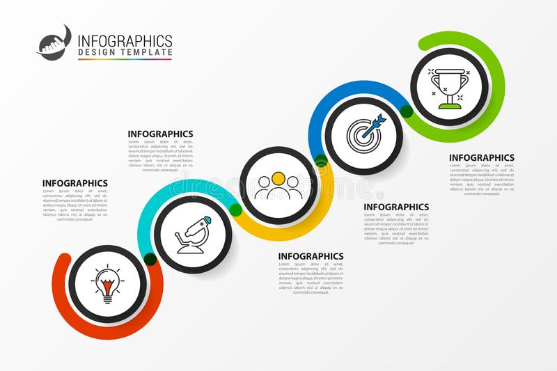 Infographic design template. Creative concept with 5 steps. Can be used for workflow layout, diagram, banner, webdesign. Vector illustration royalty free illustration