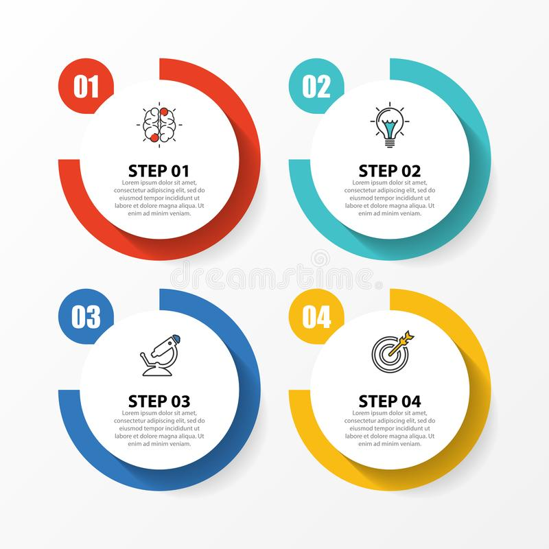 Infographic design template. Creative concept with 4 steps. Can be used for workflow layout, diagram, banner, webdesign. Vector illustration royalty free illustration
