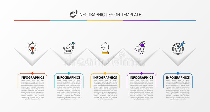 Infographic design template. Creative concept with 5 steps. Can be used for workflow layout, diagram, banner, webdesign. Vector illustration stock illustration